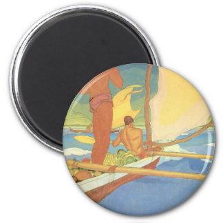 'Men in an Outrigger Canoe Headed for Shore' 6 Cm Round Magnet