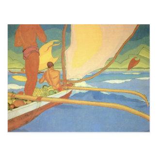 'Men in an Outrigger Canoe Headed for Shore' Postcard
