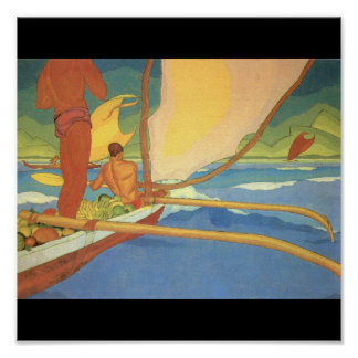 Men in an Outrigger Canoe Headed for Shore Poster