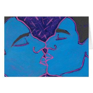 Men Kissing Blue Greeting Card