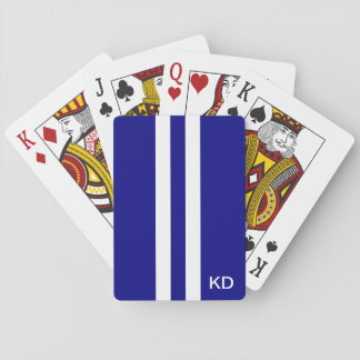 Men Navy Blue Monogrammed Playing Cards
