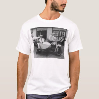 Men on Harley Davidson Motorcycle with Sidecar T-Shirt