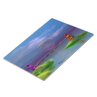 men orange and purple and hills notepad