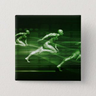 Men Running on Technology Background as a Science 15 Cm Square Badge