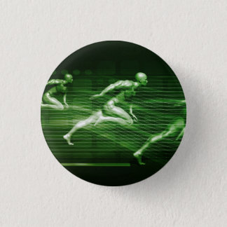 Men Running on Technology Background as a Science 3 Cm Round Badge
