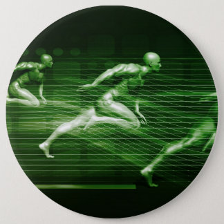 Men Running on Technology Background as a Science 6 Cm Round Badge