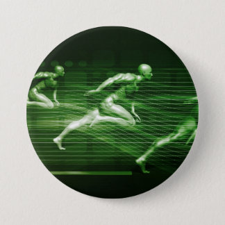 Men Running on Technology Background as a Science 7.5 Cm Round Badge