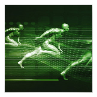 Men Running on Technology Background as a Science Card