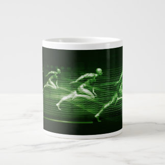 Men Running on Technology Background as a Science Large Coffee Mug