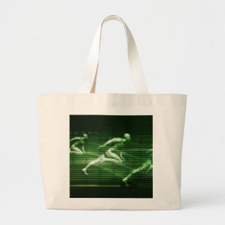 Men Running on Technology Background as a Science Large Tote Bag