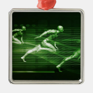 Men Running on Technology Background as a Science Metal Ornament