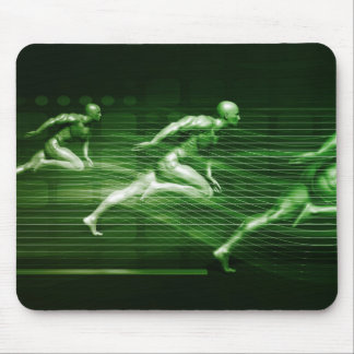 Men Running on Technology Background as a Science Mouse Pad