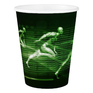 Men Running on Technology Background as a Science Paper Cup