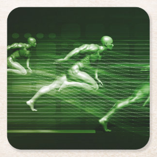 Men Running on Technology Background as a Science Square Paper Coaster