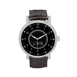 Men s Black and White Monogram Watch