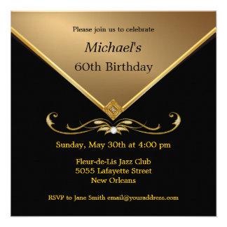 Men s Elegant Gold Black 60th Brithday Invitations