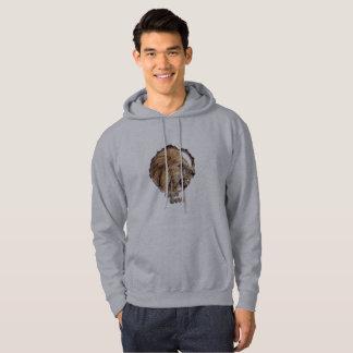 Men's gray lion camping hoodie. hoodie