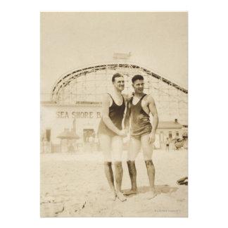 Men Standing on Beach Custom Invitations