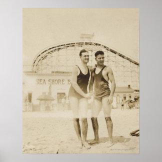 Men Standing on Beach Poster