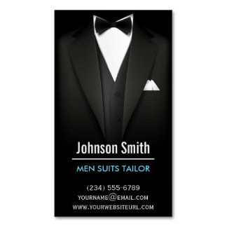 Men Suits Tailor - Modern Professional Black White Magnetic Business Cards
