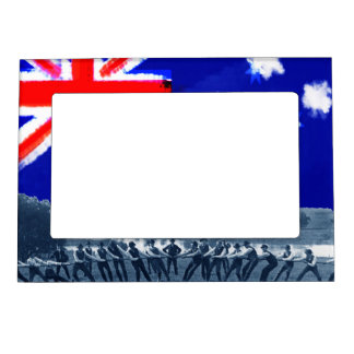 Men Tug of War Tug-O-War Photo Australia Flag 1890 Magnetic Picture Frame