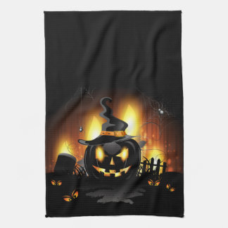 Menacing Black Pumpkin Halloween Kitchen Towels