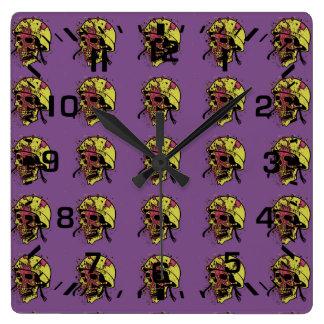 Menacing skull square wall clock