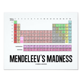 Mendeleev's Madness (Periodic Table Of Elements) 11 Cm X 14 Cm Invitation Card