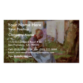 Mending Old Woman By Grigorescu Nicolae Pack Of Standard Business Cards