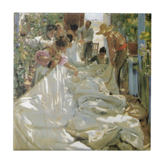 Mending the Sail -  Joaquín Sorolla y Bastida Small Square Tile
