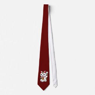 Meneki Neko Cat on Dark Red Tie
