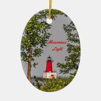 Menomine Lighthouse on Lake Michigan Ceramic Ornament