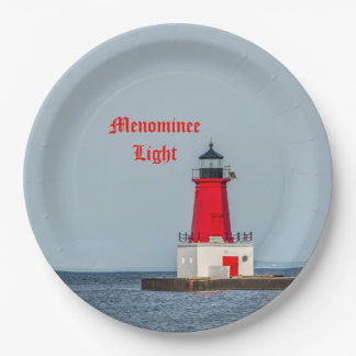 Menominee Light at End of Pier on Lake Michigan Paper Plate