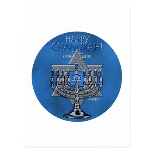 Menora & Star of David - Happy Chanukah card Postcard