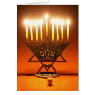 Menorah and Dreidel Card