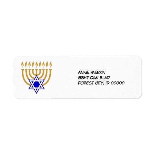 Menorah and the Star of David Label Return Address Label