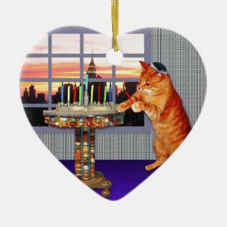 menorah cat.jpg ceramic ornament