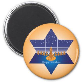 Menorah Dogs_Happy Hanukkah_Star of David 6 Cm Round Magnet