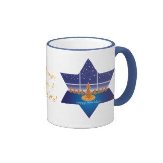 Menorah Dogs_Happy Hanukkah_Star of David Ringer Mug