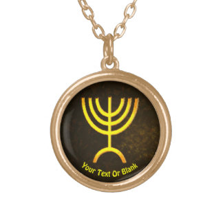 Menorah Flame Gold Plated Necklace