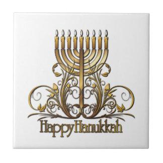 Menorah Hanukkah Greeting Ceramic Tile