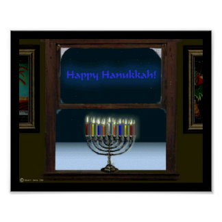 Menorah In The Window Poster