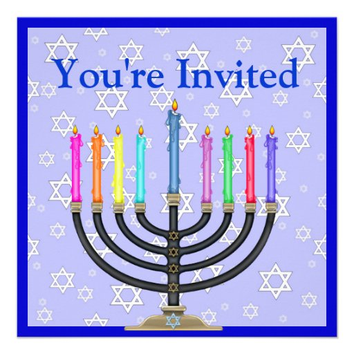 Menorah Invitation FOR HANUKKAH