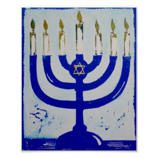 Menorah Poster, 8 x 10 Inches