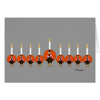 Menorah Turkeys Happy Thanksgivukkah Greeting Card