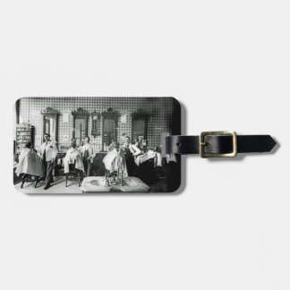 Mens 1890's Barber Shop Barber Hair Salon Photo Luggage Tag