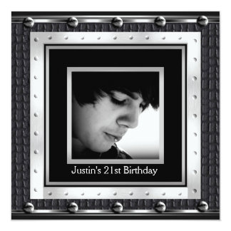 Mens 21st Birthday Party Black Metal Leather 13 Cm X 13 Cm Square Invitation Card