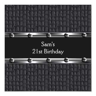 Mens 21st Birthday Party Leather Black Mans Personalized Invite