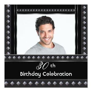 Mens 30th Birthday Party Black White Silver 13 Cm X 13 Cm Square Invitation Card