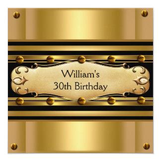 Mens 30th Birthday Party Gold Black Mans 2 Card